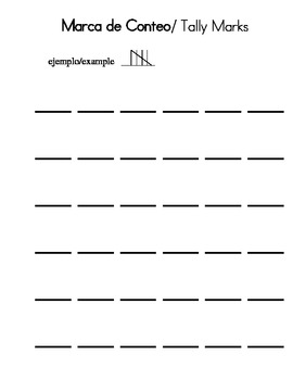 Tally Marks page in Spanish and English
