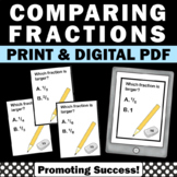 Comparing Fractions Math Task Cards Printable Activities G