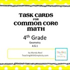 Test Prep Task Cards for 4th Grade Common Core Math (CCSS 4.G.1)