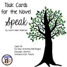 Task Cards for the novel Speak by Laurie Halse Anderson