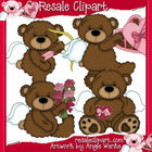 Tattered Teddies Valentines Clipart Graphics--Brown