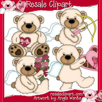 Tattered Teddies Valentines Clipart Graphics-Off White