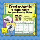 Calendar 2 Page Monthly Teacher Agenda {2014-2015} for You