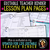 Teacher Binder Lesson Plan Templates - Editable