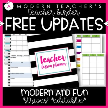 Teacher Binder (Planner & Organizer BUNDLE -Stripes) Editable w/CCSS