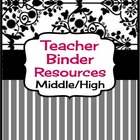 Teacher Binder Resources For Middle & High School (Editable)