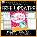 Teacher Lesson Planner Owl Editable with Common Core