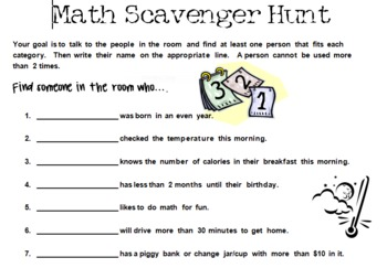 Teacher Math Scavenger Hunt - Use this for teacher workshops