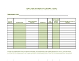 Teacher-Parent Contact Log (Olive)
