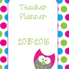 Teacher Planner - Owls and Polka Dots 2014-2015