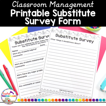 Teacher Planner - Substitute Form