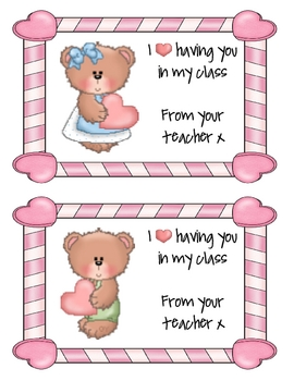 Teacher Valentine Cards - Valentine Bears