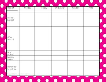 Teacher Weekly To-Do Lists Free