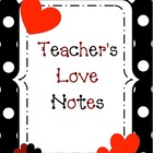 Teacher&#039;s Love Notes binder cover