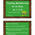 Teaching Multiplication  Is As Easy  As 1,2,3!