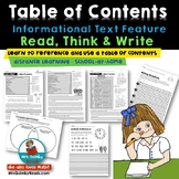 Informational Text Features-Table of Contents- Trees