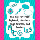 Digital Teal Clip Art Pack: Alphabet, Frames, and Doodles