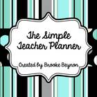 Teal Dots and Stripes Teacher Planner