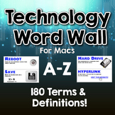 Technology Word Wall / Terms & Definitions A-Z - Over 180+