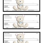 Teddy Bear Checks for Check Writing