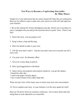Tell Me A Story ( 30 Life Lessons for Teachers/Students)