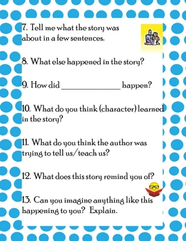 Tell Me About the Story - Retelling Comprehension Questions