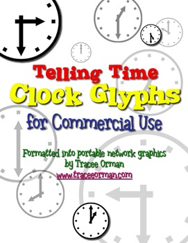 Telling Time Clock Glyphs Clip Art