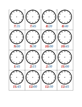 Telling Time Clocks