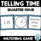 Telling Time Match Volume 2 (color) - Quarter Hour