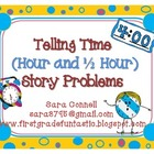 Telling Time ~ Story Problems (Half Hour and Hour) *Common