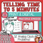 Telling Time Task Cards 32 Multiple Choice Cards, to 5 Minutes