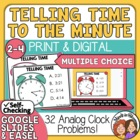 Telling Time Task Cards 32 Multiple Choice Cards, to the minute