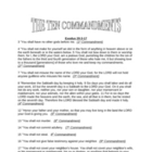 Ten Commandments Questions and Discussion