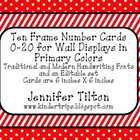 Ten Frame Number Cards 0-20 for Wall Displays in Primary Colors