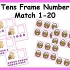 Tens Frame Number Match 1-20 Math Center - Easter theme