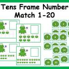 Tens Frame Number Match 1-20 Math Center - Frog Theme