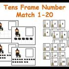 Tens Frame Number Match 1-20 Math Center - Halloween