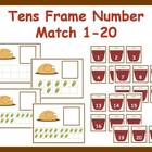 Tens Frame Number Match 1-20 Math Center - Thanksgiving Dinner