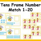 Tens Frame Number Match 1-20 Math Center - rainy weather theme