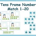 Tens Frame Number Match 1-20 Math Center - space theme