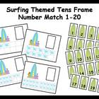 Tens Frame Number Match 1-20 Math Center - summer surfing theme