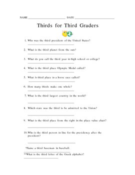 Terrific Thirds for Third Graders