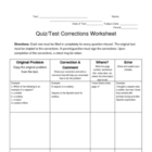 Test Corrections Worksheet (reteaching tool)