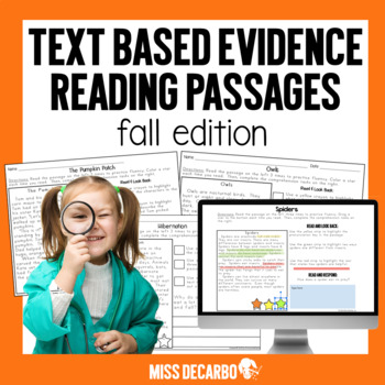 Text Evidence Reading Passages! {FALL Edition}