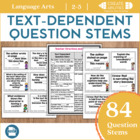 Text Dependent Question Stems! Close Reading, Literature C