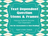 Text Dependent Question Stems, Frames {Common Core TDQ Car