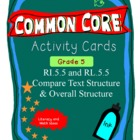 Text Structure Activity Cards Grade 5 Common Core RI.5.5 & RL.5.5