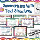 Text Structures Reading Comprehension Posters &amp; Summary template