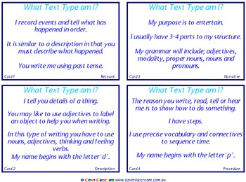 Text Type - What Text Type am I Cards Parts of Speech - 3 pages