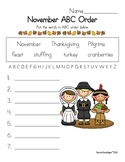Thanksgiving ABC Order Fun